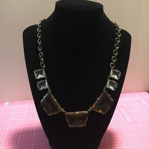 Crystal & Pink In Antique Gold Statement Necklace
